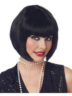 Adult Black Flapper Wig