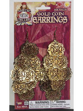 Flower Coin Dangling Earrings