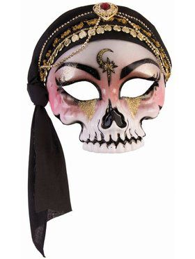 Fortune Teller - Half Mask - Skull With Black Scarf (Glasses Arm)