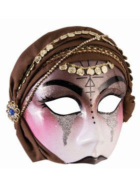 Fortune Teller - Half Mask - With Brown Scarf (Glasses Arm)