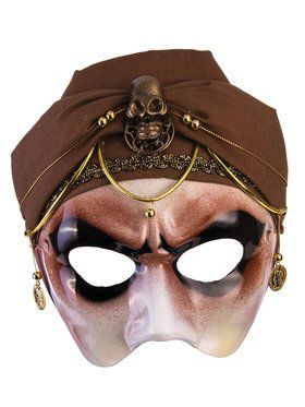 Fortune Teller - Half Mask - With Brown Scarf - Male - (Glasses Arm)