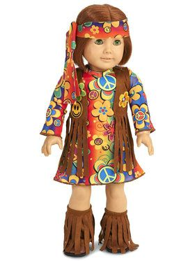 "Fringe 60's Hippie 18"" Doll Costume"
