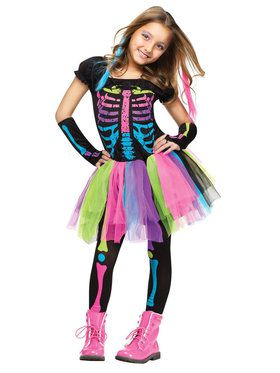 Funky Punk Skeleton Girl's Costume
