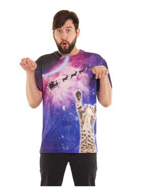 Galactic Kitty Ugly Christmas Tee-Shirt