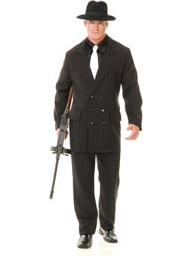 Gangster Double Breasted Suit (Black/Red) Adult Costume X-Large