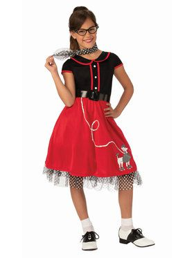 Girls Red 50's Sweeties Costume