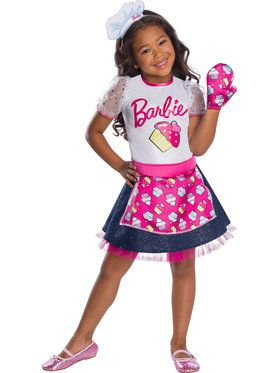 Girls Barbie Baker Chef Costume