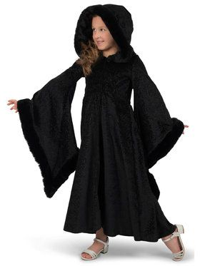Girls Black Royalty Cloak Costume