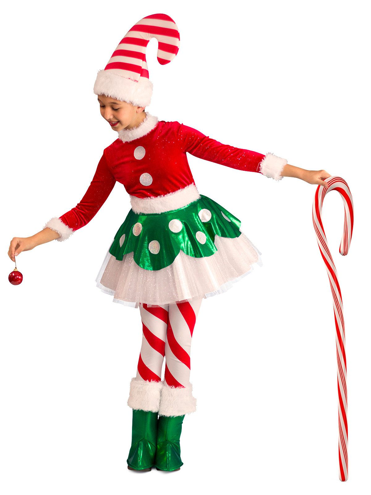 Original Costumes For Kids.Toddler Child Christmas Candy Cane Princess Costume Kids