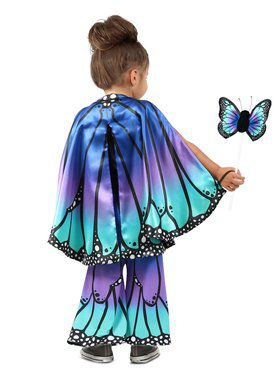 Girls Child Blue Butterfly Cape Child Costume