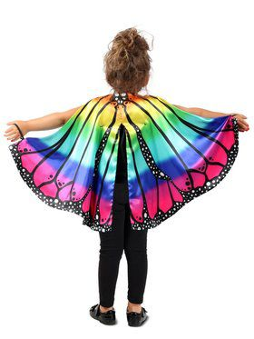 Girls Child Rainbow Butterfly Cape