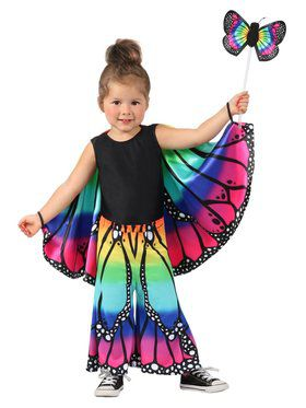 Girls Child Rainbow Butterfly Pants