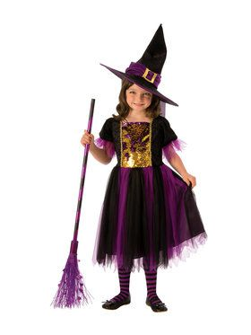Girls Color Magic Witch Costume
