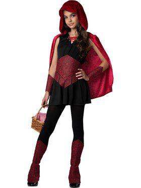 Girls Dark Forest Red Riding Hood Costume