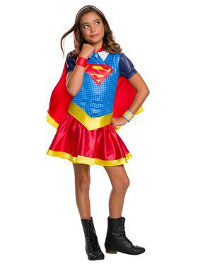 Girl's DC Super Hero Supergirl Hooded Dress Costume