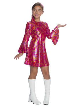 Girls Fuschia Swirl Disco Diva Costume