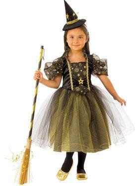 Girl's Witch Golden Star Costume