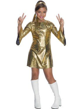 Girl's Disco Diva Holographic Costume