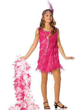 Girls Hot Pink Flapper Costume
