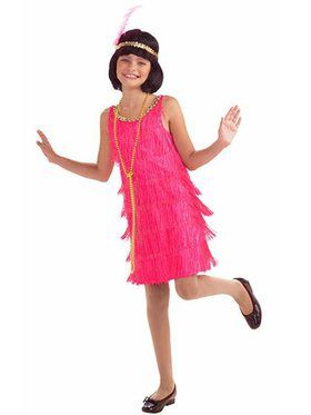 Hot Pink Flapper Costume for Girls