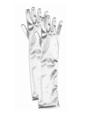 Girls Long White Satin Gloves