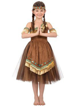 Indian Princess Wildflower Native American Kids Child Costume