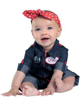 Girls Newborn Rosie the Riveter Child Costume