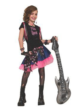 Pink Rock Girl L Child Costume