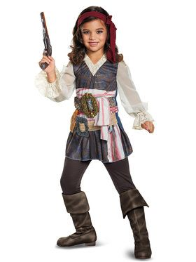 Girls Potc5 Captain Jack Girl Classic Costume