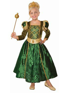 Gilded Green Princess Girls Costume