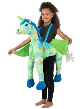 Girls Rainbow Unicorn Ride-In Costume