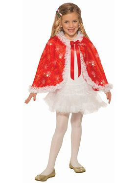 Girls Red Sparkle Cape