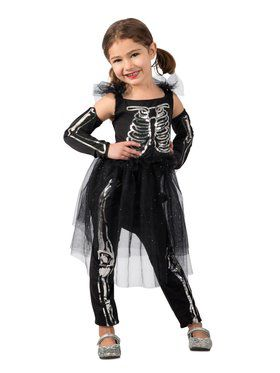 Girls Sequin Skeleton Child Costume