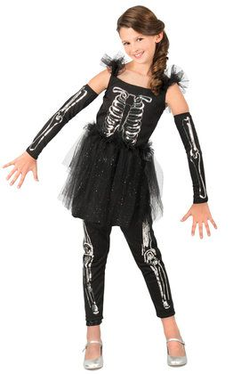 Girls Sequin Skeleton Costume