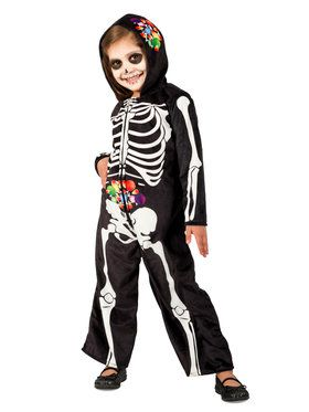 Girls Skelly Belly Costume