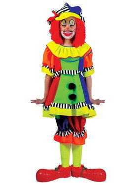 Girls Spanky Stripes Clown Costume