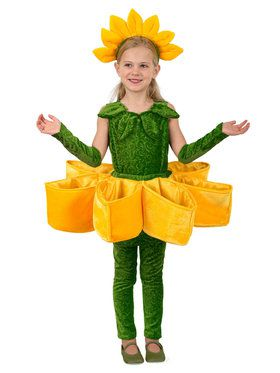 Girls Sunflower Petal Pocket Costume