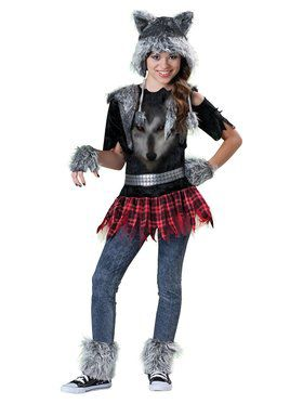 Girls Wear Wolf Costume