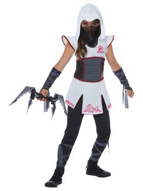 Girls White Fearless Ninja Costume