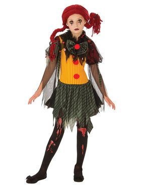 Zombie Clown Girl's Costume