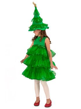 Funny Christmas Tree Costume Mascot Adult Men Women Green Red Silver Trim Large