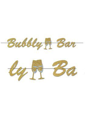 Glitter Print Bubbly Bar Stream Banner - 7'X5' ( 1)