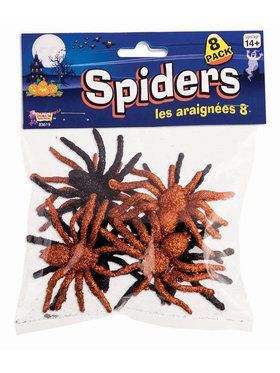 Glitter Spiders - 8Pc