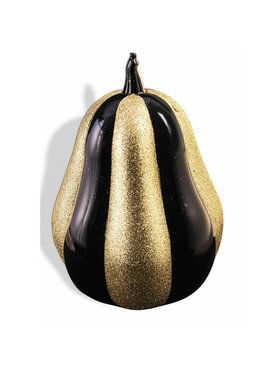 "Gold & Black Glitter 8"" Pumpkin (1)"