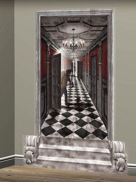 Gothic Mansion Long Hallway Wall Decoration