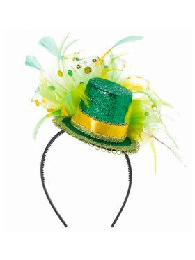 Green Feathered Mini Top Hat Headband