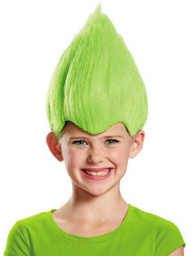 Green Troll Child Wig