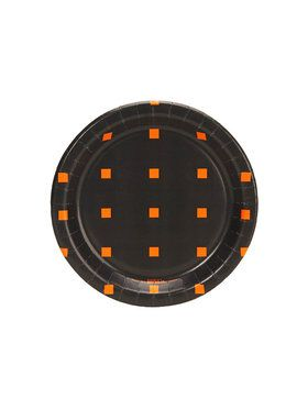 Halloween Black and Orange Square Dot Dessert Plate (8)