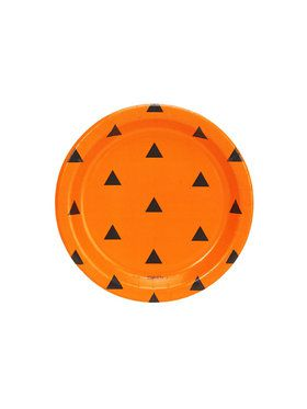 Halloween Black and Orange Triangle Dot Dessert Plate (8)