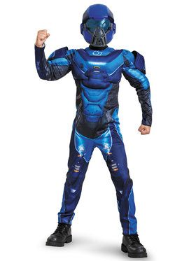 Halo Spartan Blue Classic Boys Muscle Chest Costume
